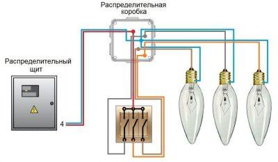 Как подключить тройной выключатель на три лампочки?