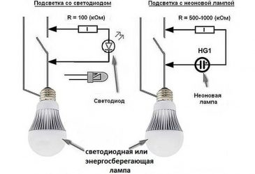 Почему светится светодиодная лампочка при выключенном свете?