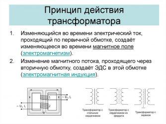 Каков принцип действия трансформатора?