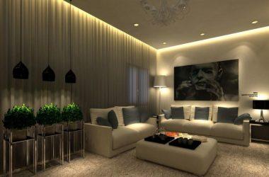 Освещение гостиной без люстры