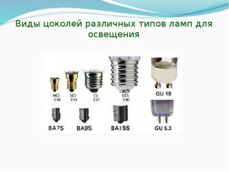 Виды цоколей ламп освещения